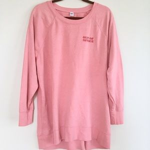 Old Navy 'Out of Office' pink crew sweatshirt NEW